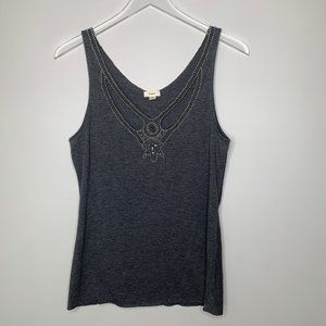 Anthropologie TINY Beaded Charcoal Grey Tank Top S